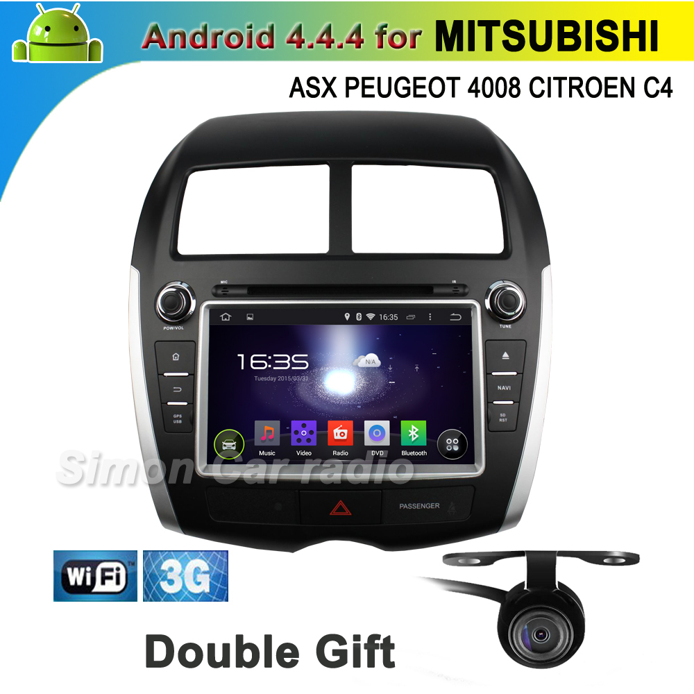 pure android 4.4 car dvd gps mitsubishi ASX 2010-2012 PEUGEOT 4008 2012 CITROEN C4 3g wifi cd usb sd radio dvr-in bt