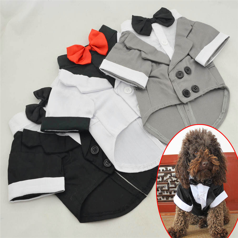 VMIPET 2016 Pet Costume Jacket Bow Tie Wedding Dress Formal Party Suit Coat Dog Clothes Tuxedo Clothing For Pet Cat Dogs DCK028(China (Mainland))