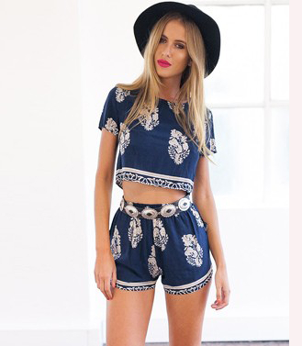 Vintage Style Hot Sale Women Tracksuits Follows Casual Print O-Neck Short Sleeve Crop Tops Elastic Waist Shorts Two Piece Set(China (Mainland))