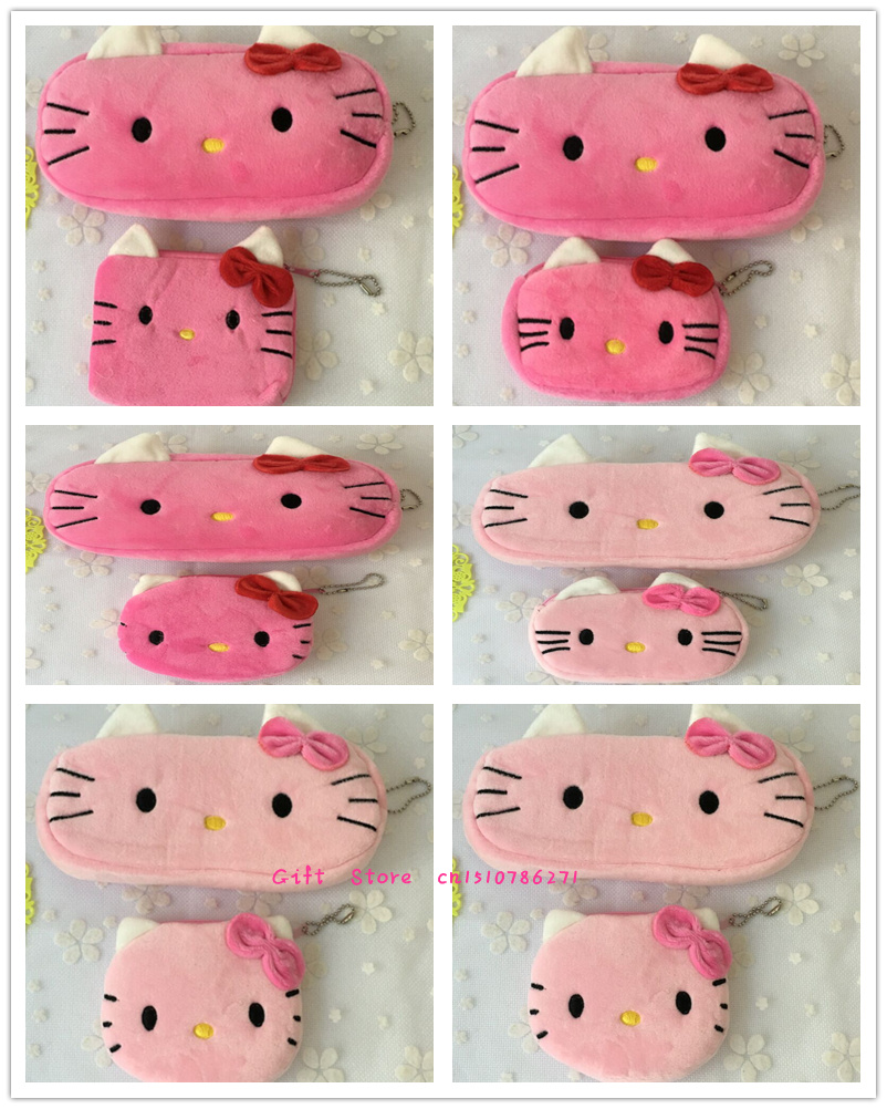 Novelty 2PCS=1SET , Kid's Hello Kitty Plush 10CM Coin BAG Series , Pocket Coin Purse Wallet Pouch , 20cm Coin Pencil BAG Pouch(China (Mainland))