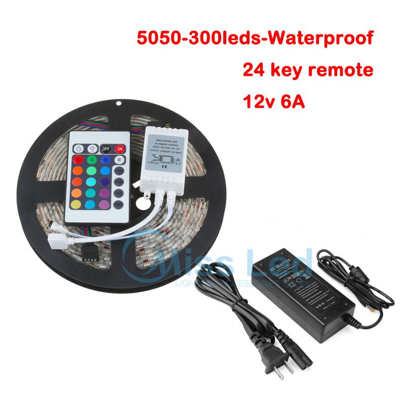 5M 300Leds/Roll SMD 5050 RGB LED Strip Light Waterproof 60 leds/m RGB Flexible 12V with 24 key IR Remote and 12v 6A Power supply(China (Mainland))