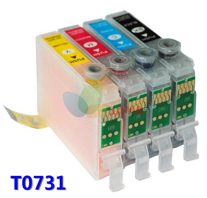 Гаджет  T0731 Refillable ink cartridge FOR EPSON STYLUS C79 C110 C90 C92 CX3900 CX3905 CX4900 CX4905 CX5500 printer with auto reset chip None Офисные и Школьные принадлежности