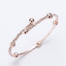 Love rhinestones cuff bracelets & bangles for women girls rose gold/silver plated alloy open adjustable female bracelet bangle(China (Mainland))