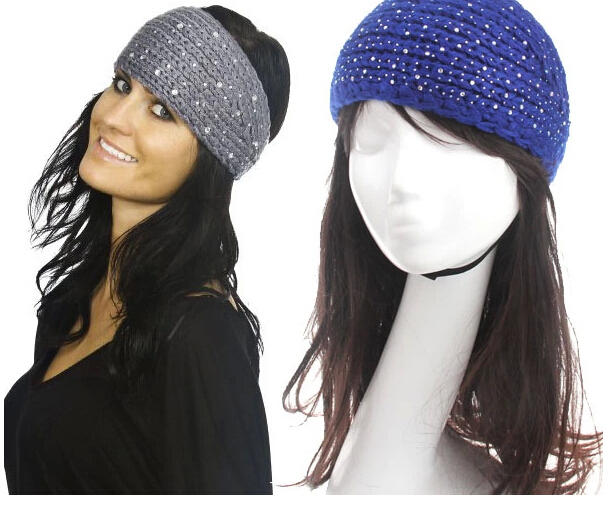 wholesale winter knitted headband with rhinestone Crystal crochet headband Handmade tenia hair accessories for women 20pcs/lot(China (Mainland))