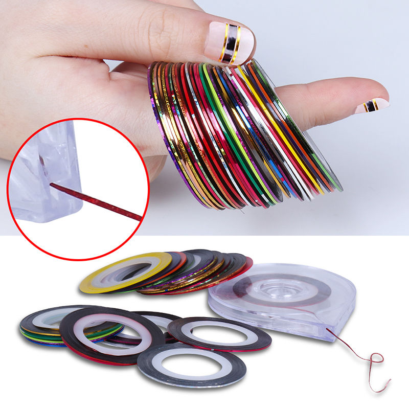 10 Rolls Striping Tape Line Sticker Tips + 6 Layer Case Tool Box Holder Nail Art DIY Tool Professional Manicure Decoration Kit(China (Mainland))