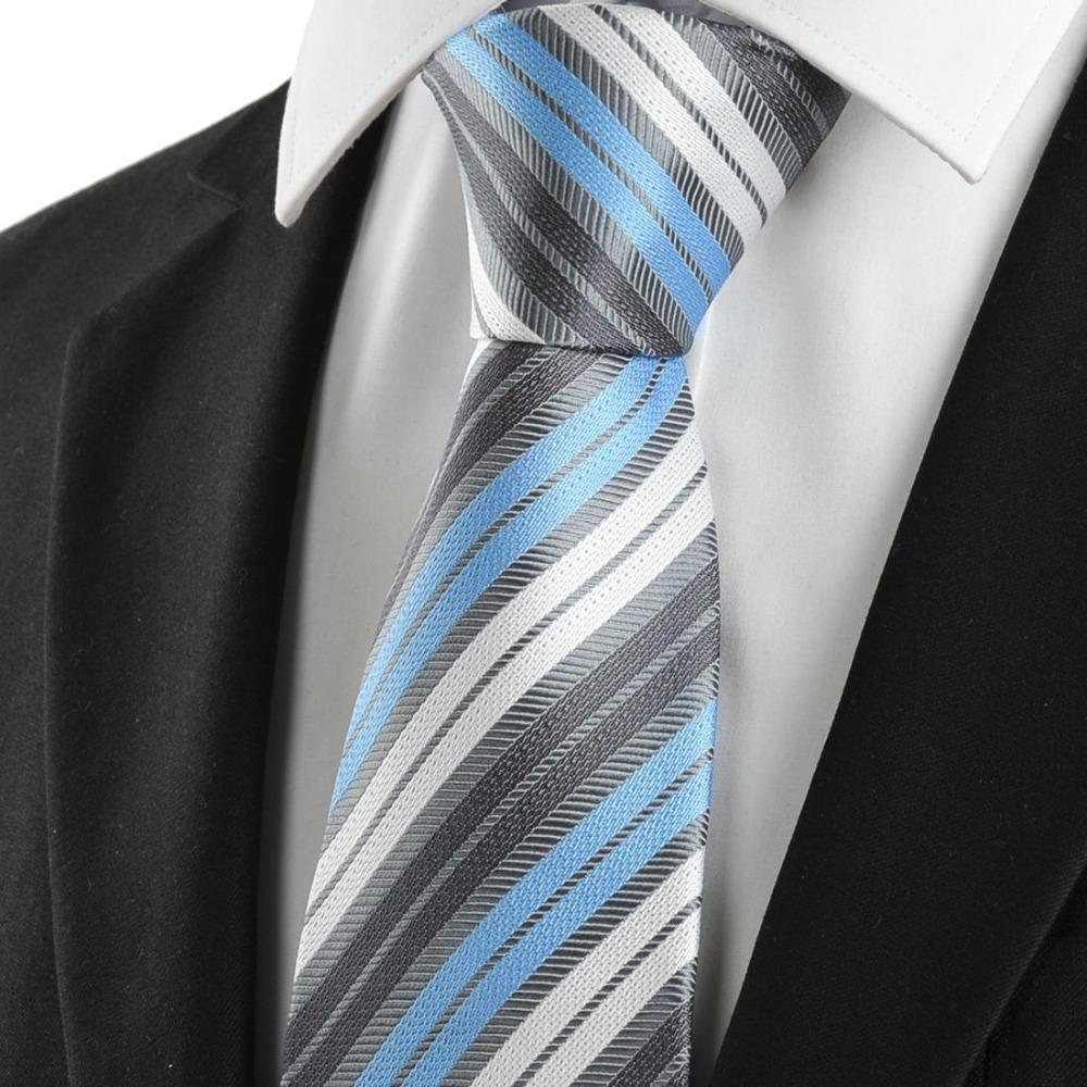 fashion business suits tie classic white blue grey stripe