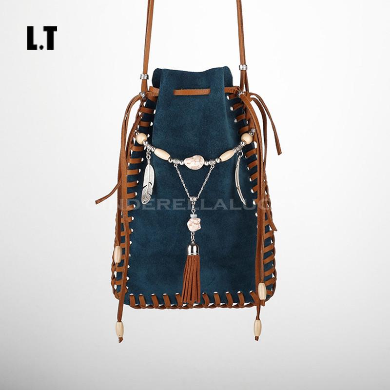 2017 Women Genuine Leather Shoulder Bag Handmade Etsy Vintage Fringe Tassel Beaded Indian Gypsy Bohemian Boho Feminine Small Bag(China (Mainland))