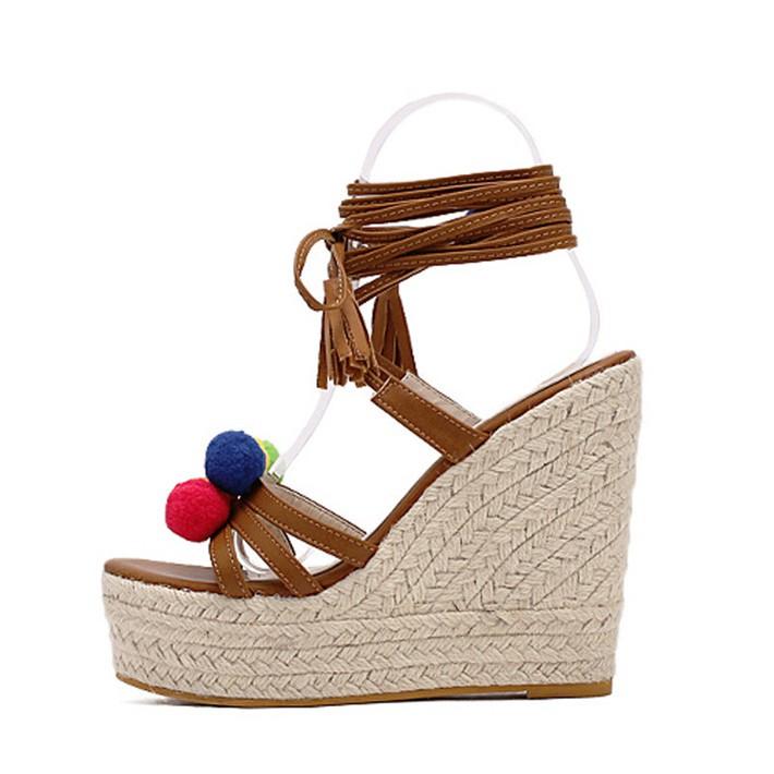 Hee grand mulheres sandálias gladiador plataforma sandálias de cunha cruz stripe colorido bola pompom de cânhamo sapatos de alta renda mulher xwz2945