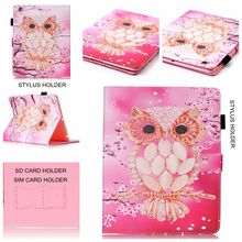 Cartoon Print SD/SIM/ Card Stylus Holder Soft TPU + PU Leather Stand Shell Skins Cover Case For Apple iPad 2 3 4 9.7 inch Tablet(China (Mainland))