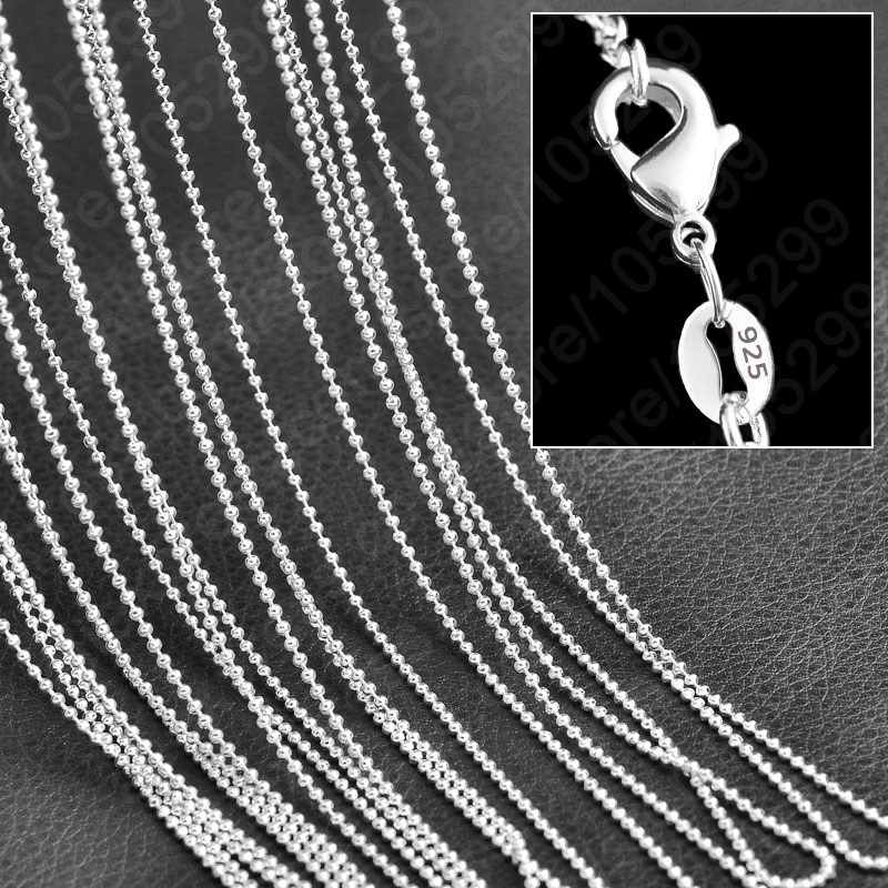 Popular Beads Chain Necklace 10pcs Lot Cheap Wholesale Genuine 925 Sterling Silver Woman Girls Jewelry Necklace