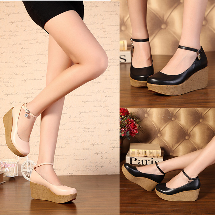high heels wedges platform female black beige shoes women's 2014 fashion shoes with strap sy-435(China (Mainland))