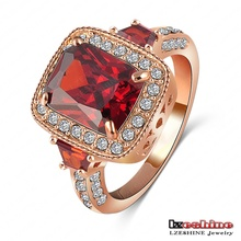 LZESHINE Brand Vintage Red Austrian Crystal Wedding Ring 18K Rose Gold Women Ring SWA Elements Free Shipping ITL-RI0075