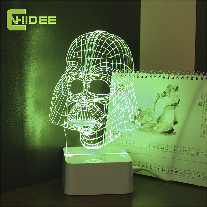 CNHIDEE 2016 Novelty USB Christmas Night Lights with Darth Vader Shaped 3D Led Desk Lamp Dimmable Abajur as Creative Gifts(China (Mainland))