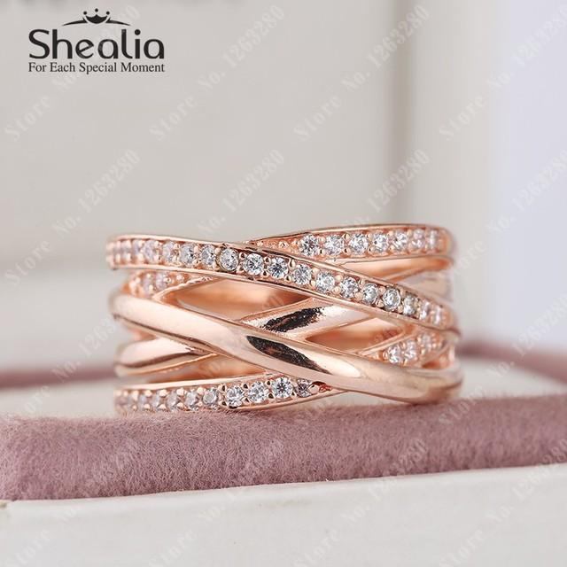 2015 новый 14 К розового золота переплелись кольца с ясно CZ павэ круглый кольцо 925 стерлингового серебра ювелирных украшений