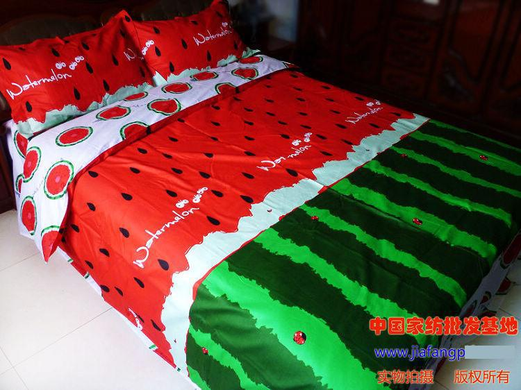 Red Green Watermelon Comforter Bedding Set King Size Queen