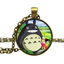 2015 Fashion Jewelry Cute Kawaii Japanese Cartoon My Neighbor Anime Totoro Glass Necklace Pendant For Women Girl Animal Jewelry