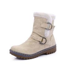 VESONAL Mùa Đông 2019 Da Ấm Tuyết Giày Giày Bốt Nữ giữa bắp chân Sang Trọng Lông Nhung Giày Nữ Giày Boot Người Phụ Nữ giày dép(China)