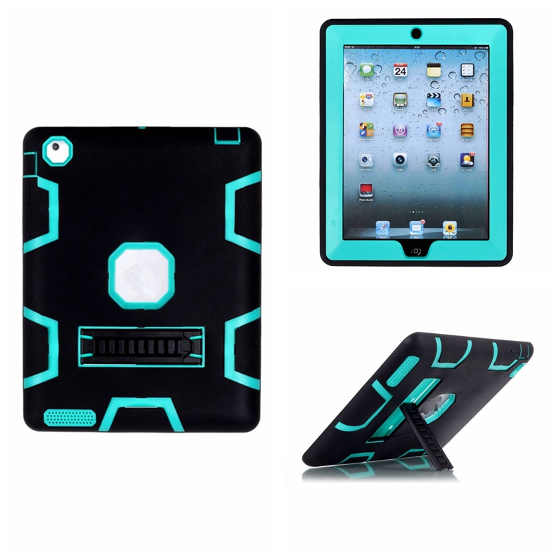 Shockproof Heavy Duty Cover Case for Apple iPad Retina Silicone Plastic Combo Case for iPad 2/3/4 W/ Build-in Kickstand(China (Mainland))