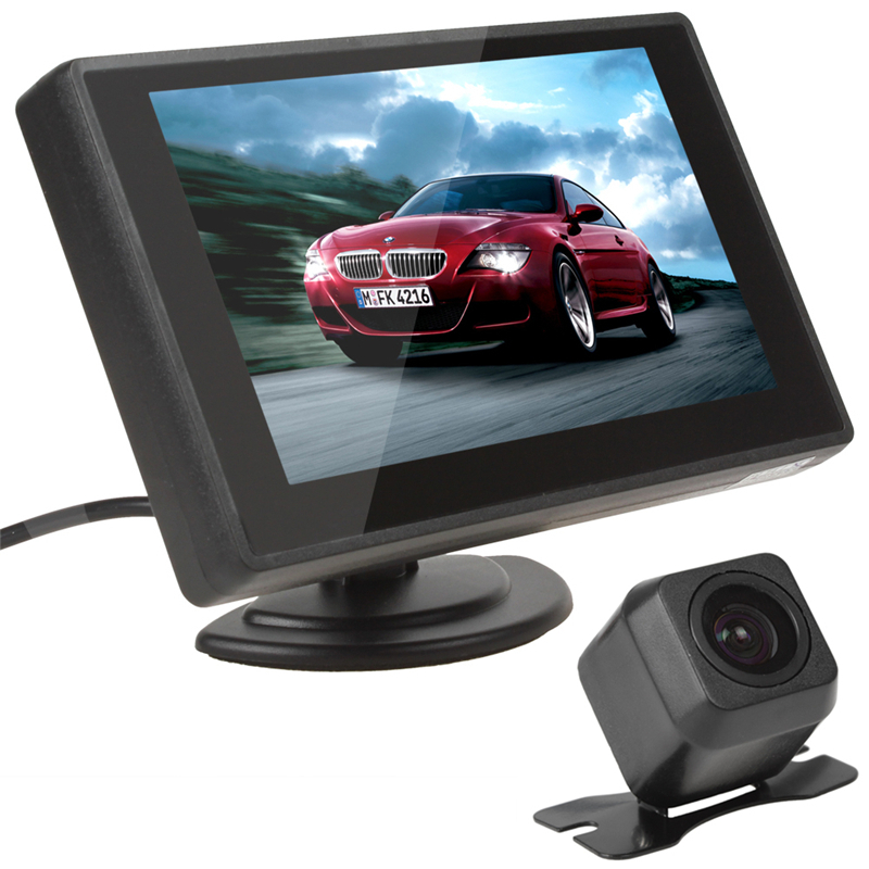 Hotsale 4.3 Inch TFT Lcd Color Rear View Camera Monitor Car Reverse DVD VCD Monitor with E313 Night Vision Reverse Car Camera(China (Mainland))
