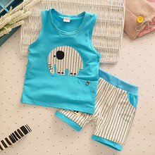 Baby Boys Girls Clothing Set Children Vest + Pants Set Kids Cartoon Clothes Casual Suits 3 Design  2016 Summer(China (Mainland))