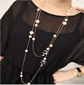 Retro fashion jewelry long chain channel imitation pearl necklace false collar sweater JC statement necklace female wholesale(China (Mainland))