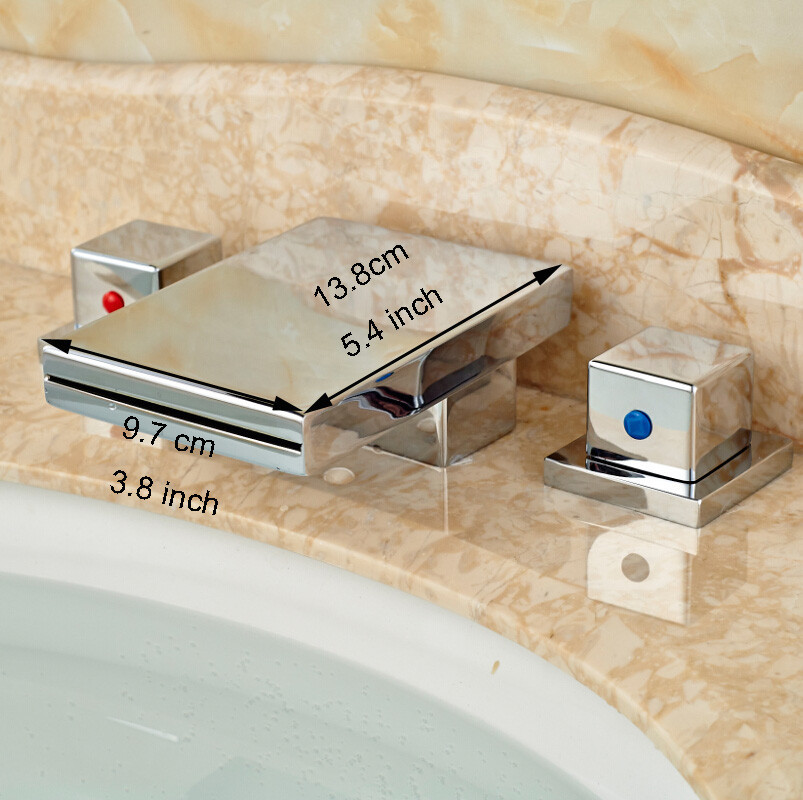 Купить Новый Широкое 3 шт. Ванная Комната Ванна Раковина Бассейна Водопад Кран Хромированная Отделка Двойной Ручки