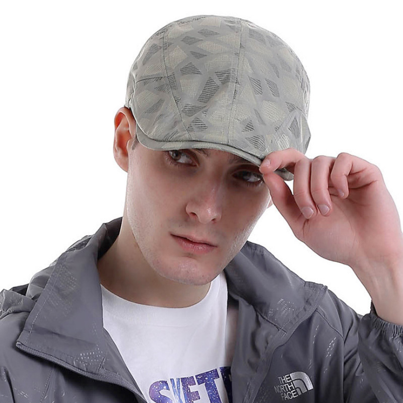 2016 Retro Cap French Beret for Men Hat Quick-Drying Plaid Golf Hats High Quality Z-3027()