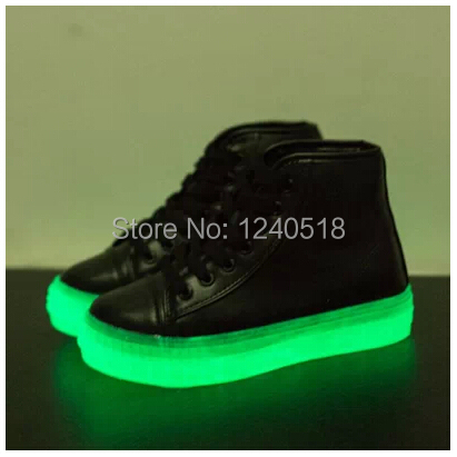 2014 New Luminous Light-emitting Fluorescent Shoes Heavy-bottomed Casual Shoes High Platform Lace Women Sneakers Pu Leahter(China (Mainland))
