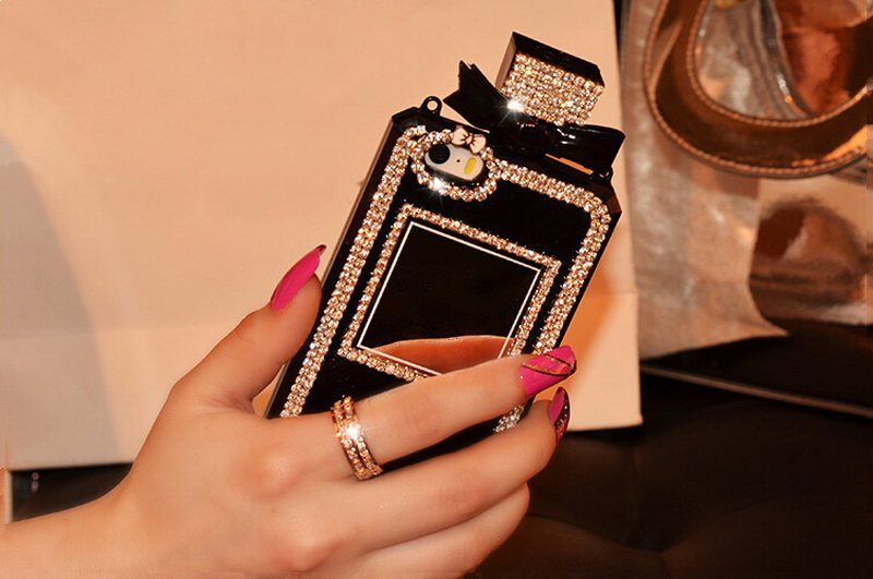 Luxury Diamond Bling Perfume Bottle Lanyard Chain Case For iphone 6 Plus 5 5s 4s for Samsung Galaxy S4 S5 S6 Note 3 4 TPU Cover()