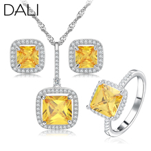 DALI New 2016 Platinum Plated Zircon Bridal Wedding Jewelry Sets with Necklaces & Earring & Ring Jewelry Set For Women DAS011(China (Mainland))