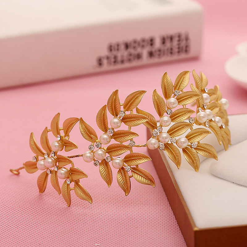 Laurel Leaf Tiara Gold Bridal Tiara Crown Flower Wedding headpiece Hair Accessories(China (Mainland))