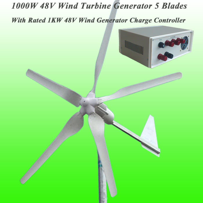 Hot Selling 5 Blades Rated 1000W 48V Wind Generator & Rated 1KW Max 2KW Wind Charge Controller Wind Power Generator Kit(China (Mainland))