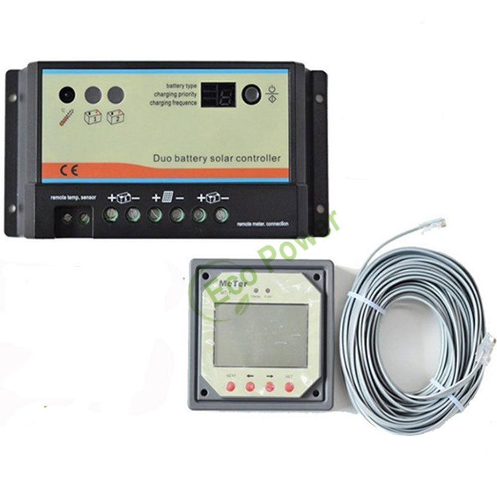 12V /24 V 10A Dual- Battery Solar Charge Controller Regulator 10Amp Dual Duo Two Battery Solar Controller With MT-1 Remote Meter(China (Mainland))