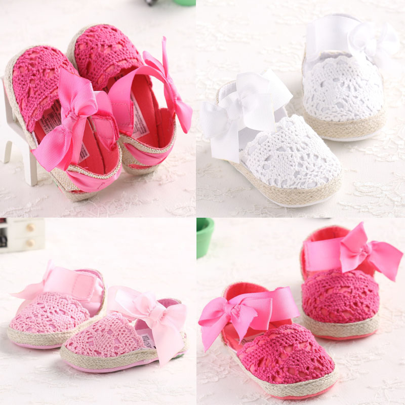 Lovely Infant Toddler Princess First Walkers Newborn Baby Girls Kid Prewalker Soft Soled Shoe Bow Dress Knitting Shoes Footwear(China (Mainland))