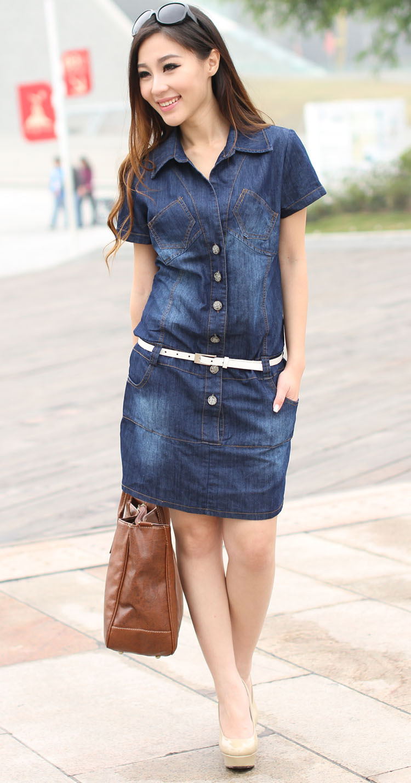 Female/Ladies Casual Denim Dress Plus Size Vintage Jeans Dresses Short Sleeve Blue 2014 Fashion Women Summer Spring - Annie store
