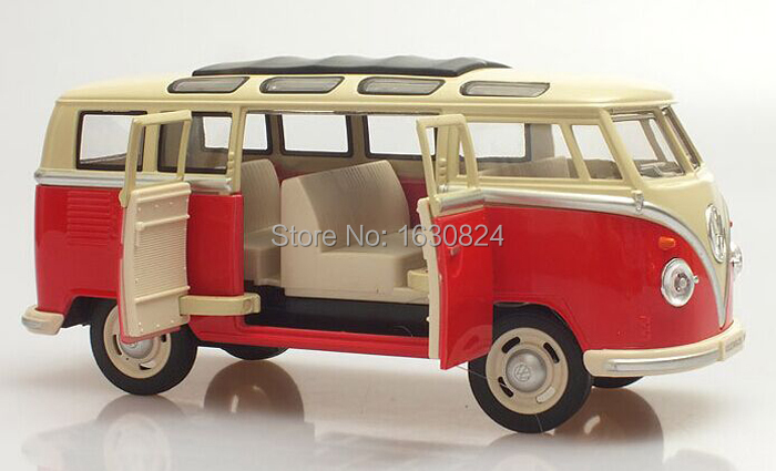 Brand New 1/24 Scale Car Toys 1962 Volkswagen Classic Hippy Bus Diecast Pull Back Metal Model Car Toy For Gift Children Adult(China (Mainland))