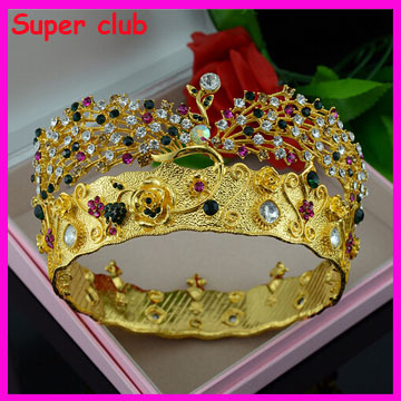Luxury Colorful Rhinestone Bridal Crown Gold Plated Peacock Crystal Wedding Tiara Crown Wedding Hair Jewelry