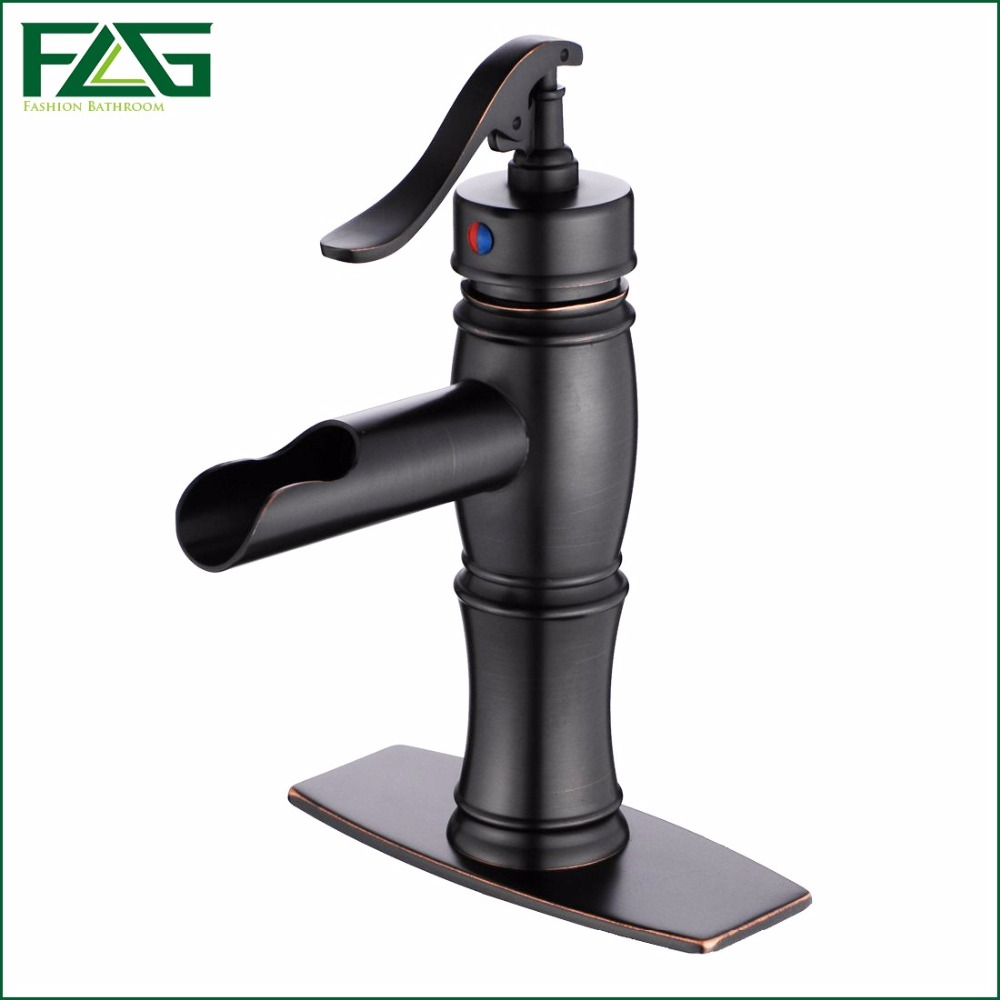 FLG Basin Faucet Oil Rubbed Bronze Sink Faucet Deck Mounted With Hole Cover Deck Plate Escutcheon Wash Basin Mixer Tap Sink 038B(China (Mainland))