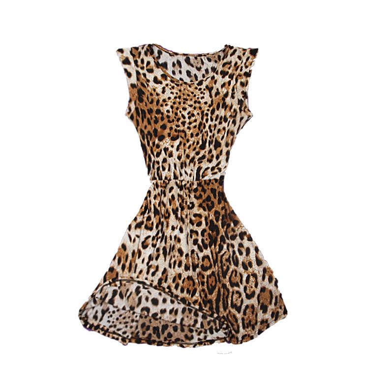2015 New Fashion Womens Summer Casual Pleated Leopard Print Dress Sundress Crew Neck Cap Sleeve Mini Club Dresses Drop Shipping(China (Mainland))