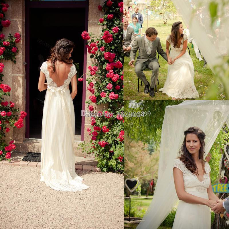 2015 backless lace chiffon garden wedding dresses pregnant for Garden wedding party dresses
