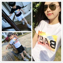 2016 New Family Matching Outfits T Shirt Short Sleeve Cotton Family Look Minnie Girl Mother Dad Son Cartoon Clothing Hot Sell