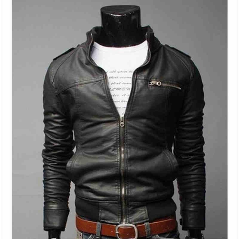2016 Male leather clothing fashion zipper leather clothing male casual stand collar water wash motorcycle leather jacket men(China (Mainland))