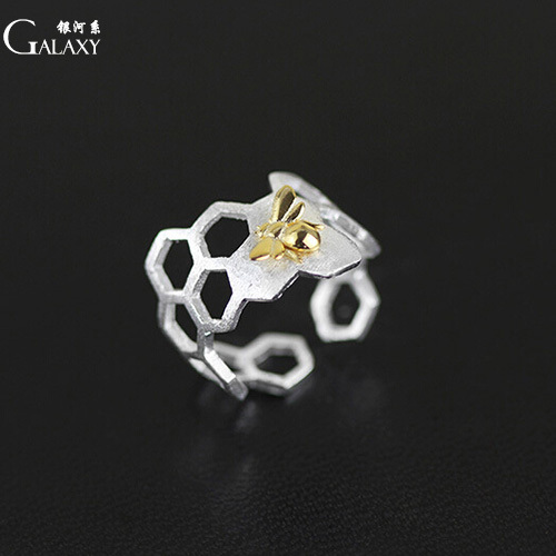 GALAXY charm 925 sterling silver rings vintage europe natural bee honeycomb design 925 silver ring for women fine jewelry(China (Mainland))