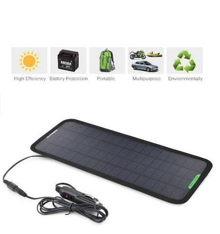18V 5W Portable Solar Car Battery Charger Bundle with Cigarette Lighter Plug, Battery Charging Clip Line, Suction Cups & Manual(China (Mainland))