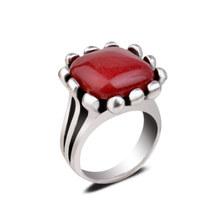 สีแดงธรรมชาติหยกหิน Men สแควร์ชุดแหวน Punk รูปไข่(China)