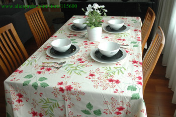 Free shipping Country living beige tablecloth cotton linen printed flower table linen 145X220cm