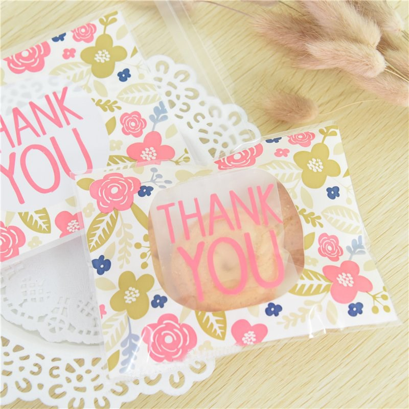 100pcs/lot Candy Packaging Bags Wedding Gift Soap 10x13+3cm Thank You Style OPP Christmas Cookie Baking Package Bag(China (Mainland))