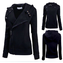 New Fashion Winter Women Zip Black Slim Fit Sweater Jumper Hoodies Coat free shipping