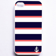wholesale and retail Cute Stripes Anchor Hard White Cell Case Cover Skin for Apple Iphone4/4s/5/5s/5c