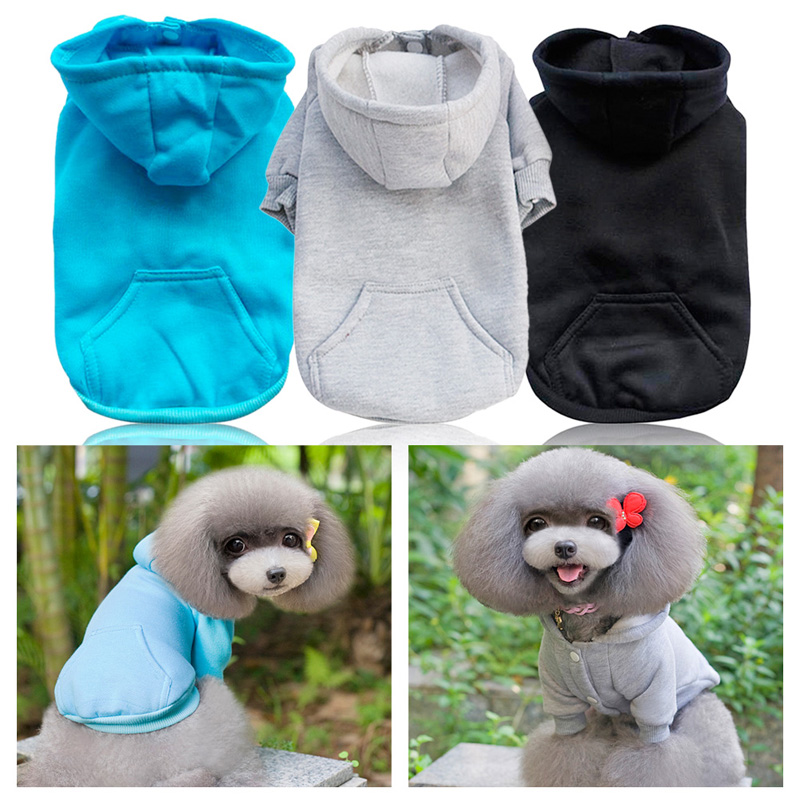 Cute Warm Winter Dog Hoodies Clothes Pure Color Leisure Dog Puppy Cat Costumes Apparel Clothes for Dog 4 Size(China (Mainland))